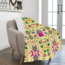 "Geometric Floral Fall - Vanilla Ultra-Soft Micro Fleece Blanket 50""x60"" Ultra-Soft Blanket 50''x60'' e-joyer"