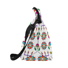 Geometric Floral Fall-White Neoprene Lunch Bag/Large (Model 1669) Neoprene Lunch Bag/Large (1669) e-joyer