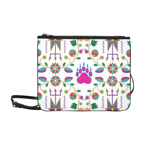 Geometric Floral Fall-White Slim Clutch Bag (Model 1668) Slim Clutch Bags (1668) e-joyer