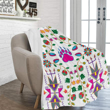 "Geometric Floral Fall - White Ultra-Soft Micro Fleece Blanket 60""x80"" Ultra-Soft Blanket 60''x80'' e-joyer"