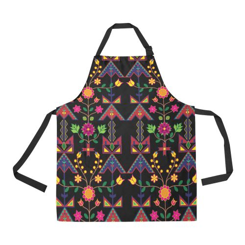 Geometric Floral Spring-Black All Over Print Apron All Over Print Apron e-joyer