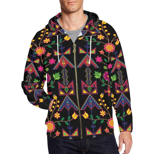 Geometric Floral Spring-Black All Over Print Full Zip Hoodie for Men/Large Size (Model H14) All Over Print Full Zip Hoodie for Men/Large (H14) e-joyer