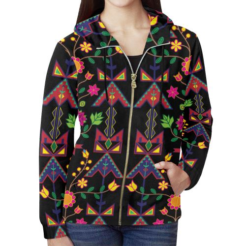 Geometric Floral Spring-Black All Over Print Full Zip Hoodie for Women (Model H14) All Over Print Full Zip Hoodie for Women (H14) e-joyer