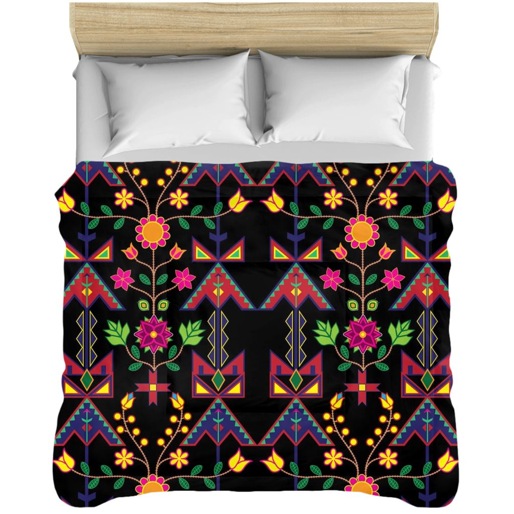 Geometric Floral Spring - Black Comforters 49 Dzine 88x104 inch - King Size