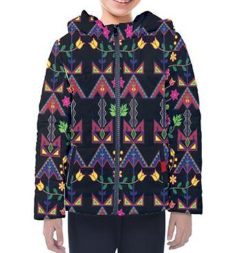 Geometric Floral Spring Black Design Insulated Winter Coat for Kids 49 Dzine