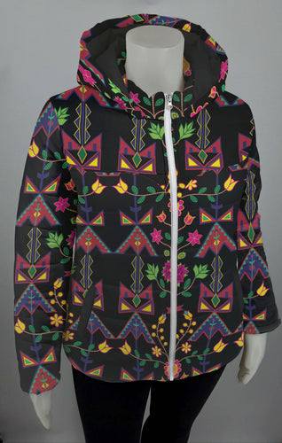 Geometric Floral Spring Black Design Insulated Winter Coat for Women 49 Dzine