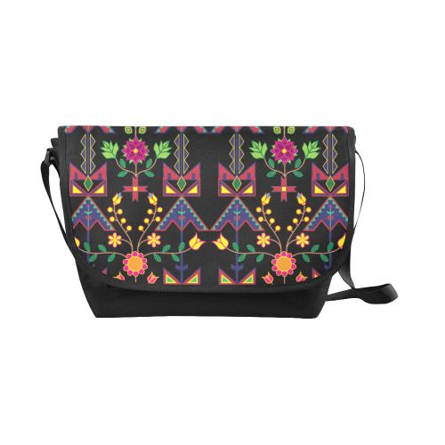 Geometric Floral Spring-Black New Messenger Bag (Model 1667) New Messenger Bags (1667) e-joyer