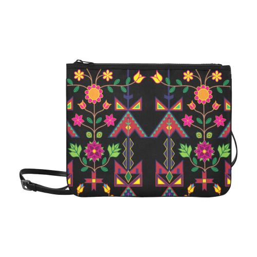 Geometric Floral Spring-Black Slim Clutch Bag (Model 1668) Slim Clutch Bags (1668) e-joyer