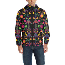 Geometric Floral Spring - Black Unisex Quilted Coat All Over Print Quilted Windbreaker for Men (H35) e-joyer