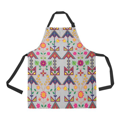 Geometric Floral Spring-Gray All Over Print Apron All Over Print Apron e-joyer