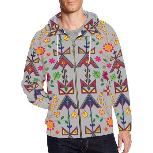 Geometric Floral Spring-Gray All Over Print Full Zip Hoodie for Men/Large Size (Model H14) All Over Print Full Zip Hoodie for Men/Large (H14) e-joyer