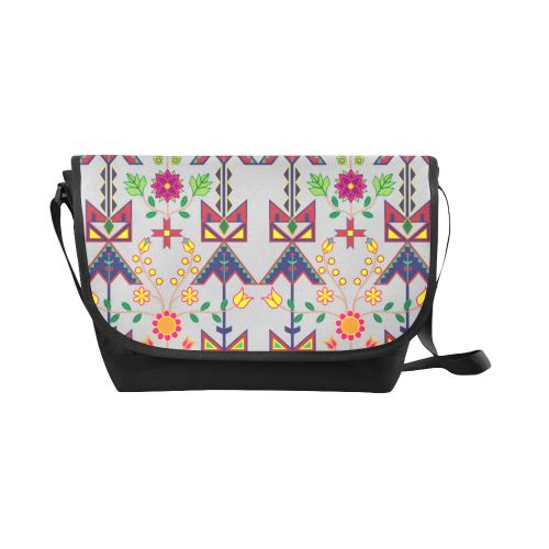 Geometric Floral Spring-Gray New Messenger Bag (Model 1667) New Messenger Bags (1667) e-joyer