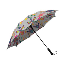 Geometric Floral Spring-Gray Semi-Automatic Foldable Umbrella Semi-Automatic Foldable Umbrella e-joyer