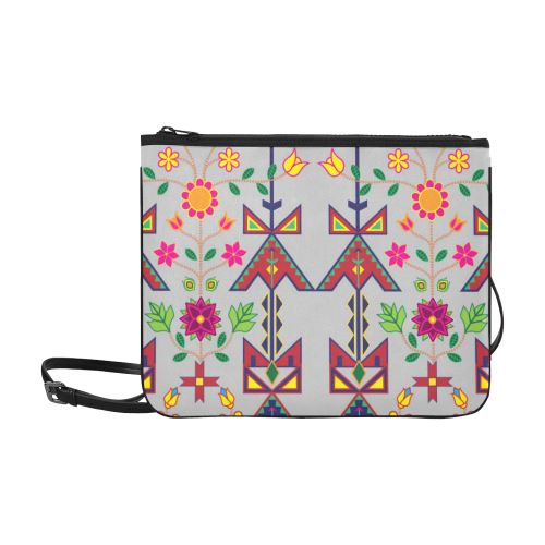 Geometric Floral Spring-Gray Slim Clutch Bag (Model 1668) Slim Clutch Bags (1668) e-joyer