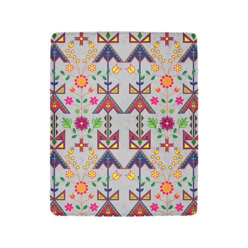 Geometric Floral Spring - Gray Ultra-Soft Micro Fleece Blanket 40