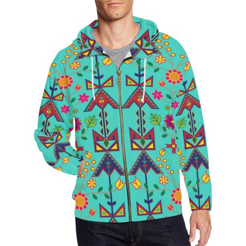 Geometric Floral Spring-Sky All Over Print Full Zip Hoodie for Men/Large Size (Model H14) All Over Print Full Zip Hoodie for Men/Large (H14) e-joyer