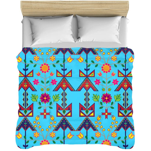 Geometric Floral Spring - Sky Blue Comforters 49 Dzine 88x104 inch - King Size