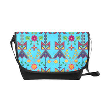 Geometric Floral Spring-Sky Blue New Messenger Bag (Model 1667) New Messenger Bags (1667) e-joyer