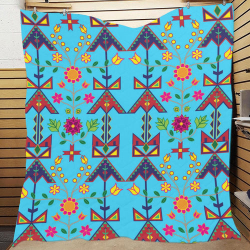 Geometric Floral Spring - Sky Blue Quilt 70