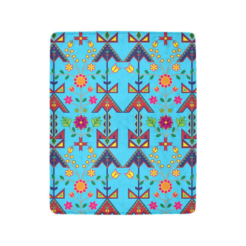 Geometric Floral Spring - Sky Blue Ultra-Soft Micro Fleece Blanket 40