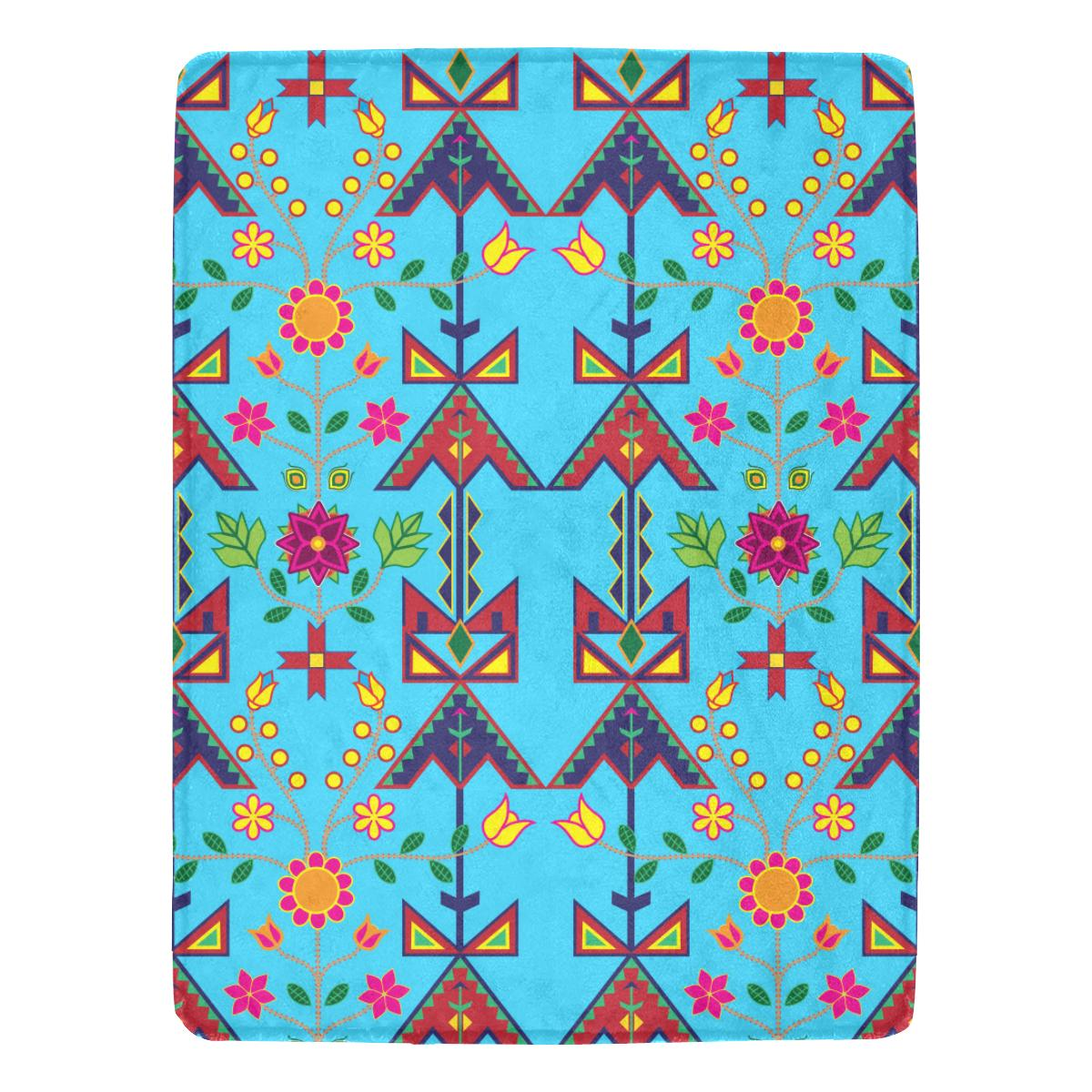 Geometric Floral Spring - Sky Blue Ultra-Soft Micro Fleece Blanket 60