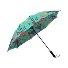 Geometric Floral Spring-Sky Semi-Automatic Foldable Umbrella Semi-Automatic Foldable Umbrella e-joyer