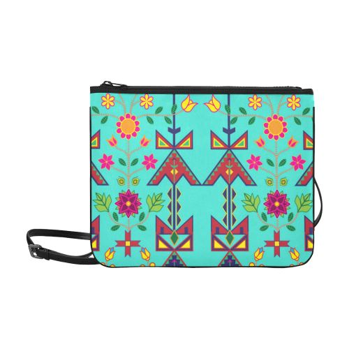 Geometric Floral Spring-Sky Slim Clutch Bag (Model 1668) Slim Clutch Bags (1668) e-joyer