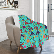 "Geometric Floral Spring - Sky Ultra-Soft Micro Fleece Blanket 40""x50"" Ultra-Soft Blanket 40''x50'' e-joyer"