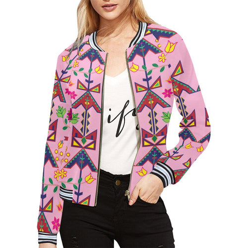 Geometric Floral Spring - Sunset All Over Print Bomber Jacket for Women (Model H21) All Over Print Bomber Jacket for Women (H21) e-joyer