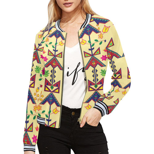 Geometric Floral Spring - Vanilla All Over Print Bomber Jacket for Women (Model H21) All Over Print Bomber Jacket for Women (H21) e-joyer