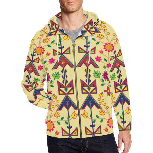 Geometric Floral Spring-Vanilla All Over Print Full Zip Hoodie for Men/Large Size (Model H14) All Over Print Full Zip Hoodie for Men/Large (H14) e-joyer