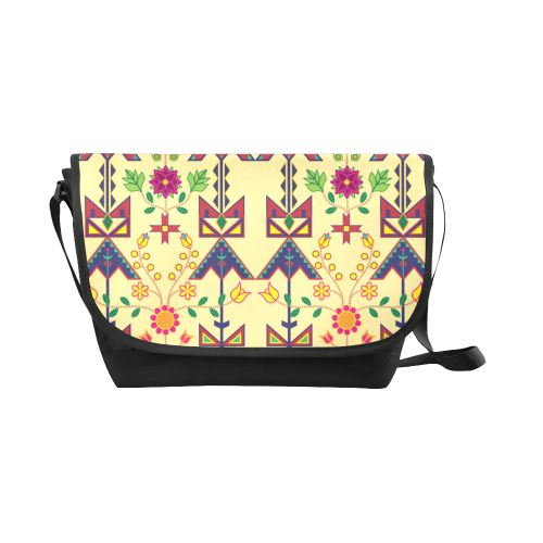Geometric Floral Spring-Vanilla New Messenger Bag (Model 1667) New Messenger Bags (1667) e-joyer
