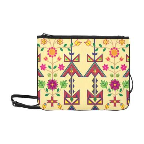 Geometric Floral Spring-Vanilla Slim Clutch Bag (Model 1668) Slim Clutch Bags (1668) e-joyer