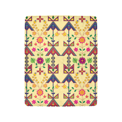 Geometric Floral Spring - Vanilla Ultra-Soft Micro Fleece Blanket 40