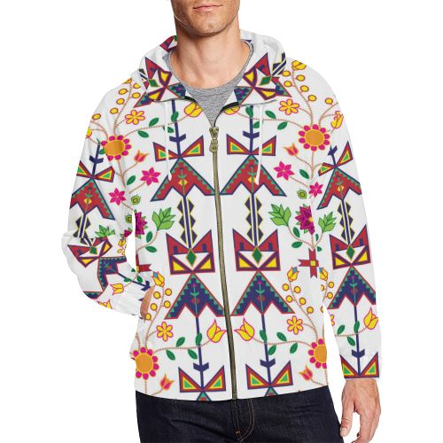 Geometric Floral Spring-White All Over Print Full Zip Hoodie for Men/Large Size (Model H14) All Over Print Full Zip Hoodie for Men/Large (H14) e-joyer