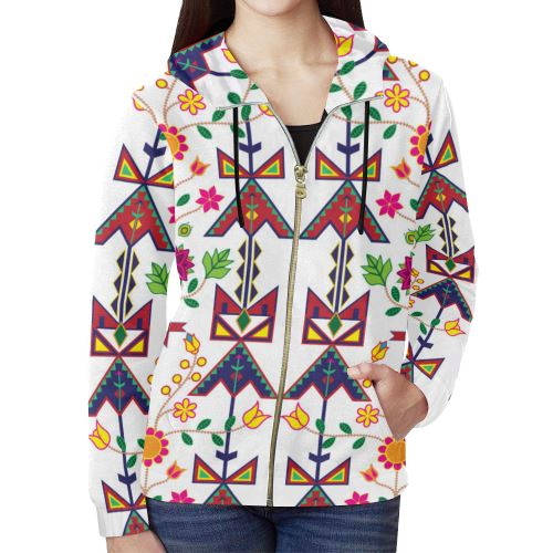 Geometric Floral Spring-White All Over Print Full Zip Hoodie for Women (Model H14) All Over Print Full Zip Hoodie for Women (H14) e-joyer