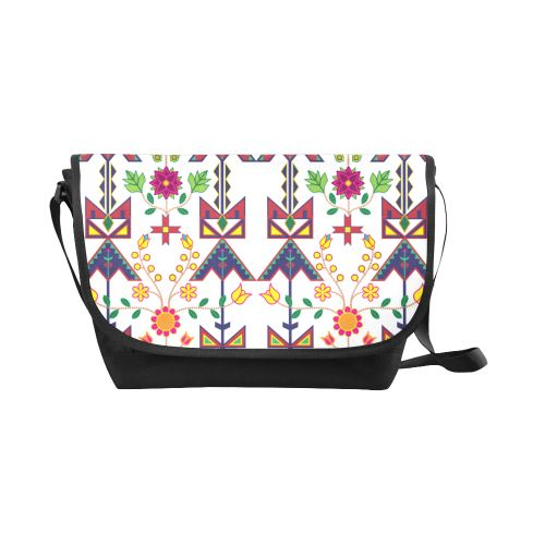 Geometric Floral Spring-White New Messenger Bag (Model 1667) New Messenger Bags (1667) e-joyer