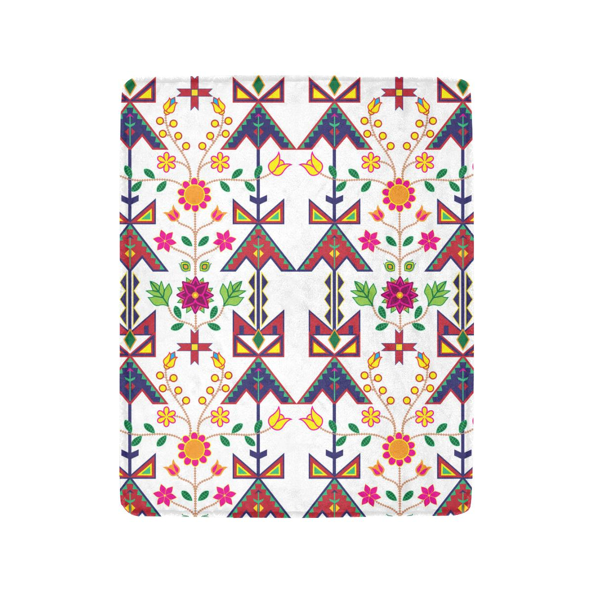 Geometric Floral Spring - White Ultra-Soft Micro Fleece Blanket 40
