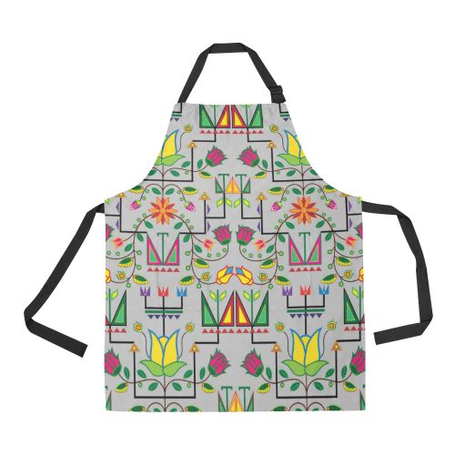 Geometric Floral Summer-Gray All Over Print Apron All Over Print Apron e-joyer