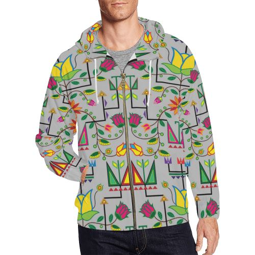 Geometric Floral Summer-Gray All Over Print Full Zip Hoodie for Men/Large Size (Model H14) All Over Print Full Zip Hoodie for Men/Large (H14) e-joyer