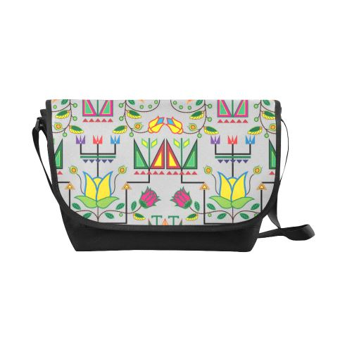 Geometric Floral Summer-Gray New Messenger Bag (Model 1667) New Messenger Bags (1667) e-joyer