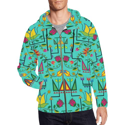 Geometric Floral Summer-Sky All Over Print Full Zip Hoodie for Men/Large Size (Model H14) All Over Print Full Zip Hoodie for Men/Large (H14) e-joyer