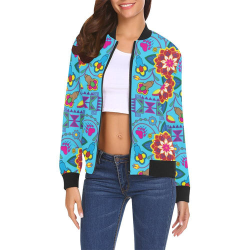 Geometric Floral Summer - Sky Blue All Over Print Bomber Jacket for Women (Model H19) All Over Print Bomber Jacket for Women (H19) e-joyer