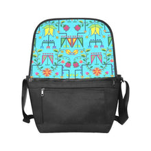 Geometric Floral Summer-Sky Blue New Messenger Bag (Model 1667) New Messenger Bags (1667) e-joyer