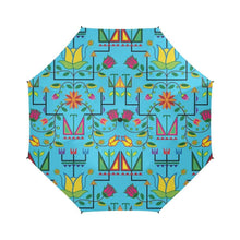 Geometric Floral Summer-Sky Blue Semi-Automatic Foldable Umbrella Semi-Automatic Foldable Umbrella e-joyer