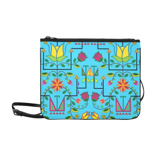 Geometric Floral Summer-Sky Blue Slim Clutch Bag (Model 1668) Slim Clutch Bags (1668) e-joyer