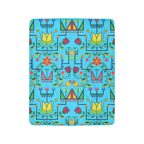 Geometric Floral Summer - Sky Blue Ultra-Soft Micro Fleece Blanket 40