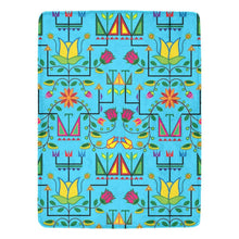 "Geometric Floral Summer - Sky Blue Ultra-Soft Micro Fleece Blanket 60""x80"" Ultra-Soft Blanket 60''x80'' e-joyer"