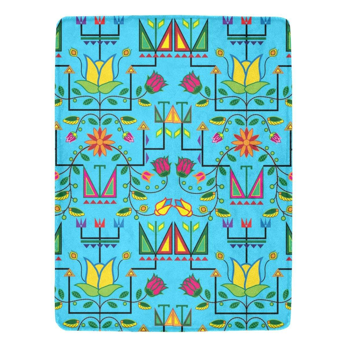 Geometric Floral Summer - Sky Blue Ultra-Soft Micro Fleece Blanket 60
