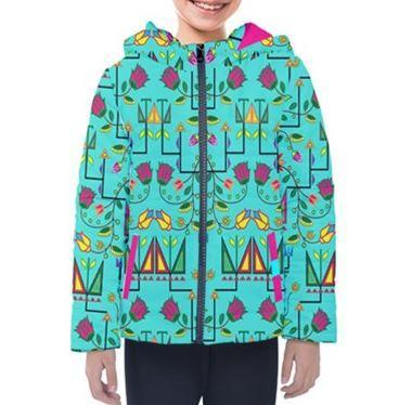 Geometric Floral Summer Sky Design Insulated Winter Coat for Kids 49 Dzine